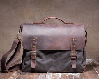 Satchel - Leather Satchel - Mens Satchel - Canvas Satchel - Men Leather Satchel - Satchel Men