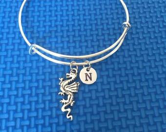 dragon initial Bracelet, dragon Bracelet Bangle, dragon Charm, dragon Charm Bracelet  CP38