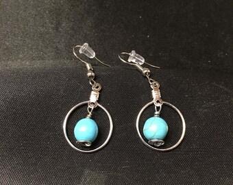 Single turquoise Howlite Hoop Earrings