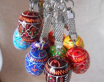 Set of 5 Keychains Small Ukrainian Painted Wooden Easter Eggs for a decor Ukraine Pysanka Ukrainian Pysanky Писанка Україна 1,25""