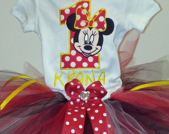 Red Yellow Minnie Mouse 1st Birthday Outfit Onesie Tutu FREE Hair Bow Personalized