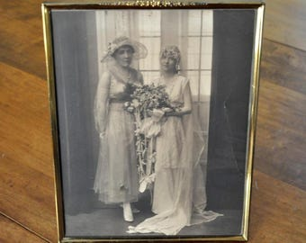 20's brass picture frame with wedding photo