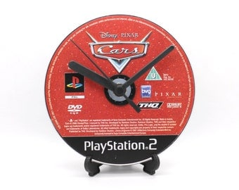 Cars PlayStation 2 PS2 Upcycled CD Clock Video Game Gift Idea