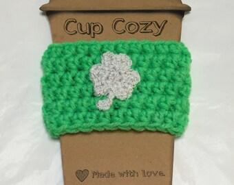 Shamrock Coffee Sleeve, Coffee Cozy, Crocheted Coffee Cozy, Coffee Sleeve, To-Go Cup Cozy
