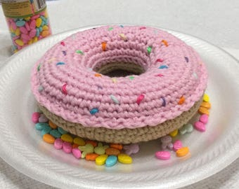 Crochet Doughnut, Crochet Donut, XL Doughnut, Play Food