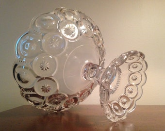 Clear Moon & Stars Compote Dish - LE Smith Glass Co. / Large Scalloped Pedestal Fruit Bowl / Art Glass Centerpiece