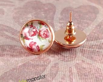 Rose Garden  - rose gold stud earrings, 12 mm glass dome, faux plugs, flowers, feminine