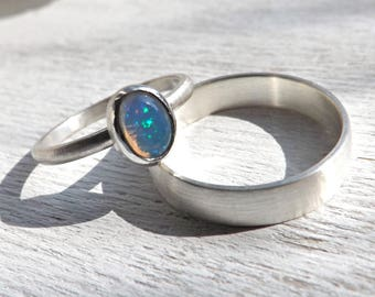opal wedding ring set delicate opal ring silver white opal engagement ring set - Opal Wedding Ring Sets