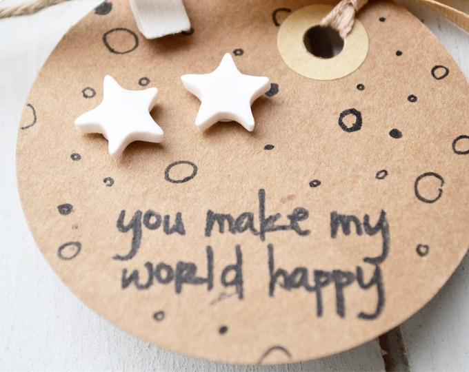 Handmade star earrings, white star earrings, special Christmas gift, you are special, MichaelaCraft, Star jewellery, white star stud earring