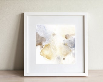 "Abstract painting, watercolor floral art, Fine Art Print, yellow, blue, brown, tan, neutral, ""Bloom 3"""