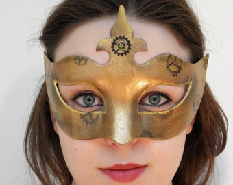 Bronze gold steampunk masquerade mask cogs gears with ribbon ties