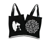 """Tote bag double face with """"Nuts and squirrel"""" screen printing"""