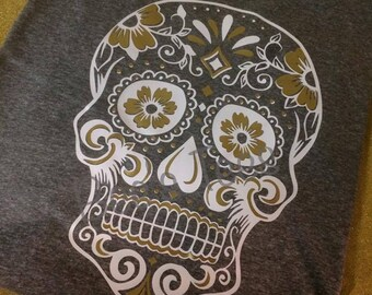 Sugar Skull Women's Tee, Skull, Gold, T-shirt, Vinyl, Womens, Cinco De Mayo, Day of the Dead, Skull, Halloween, Cool, Trendy
