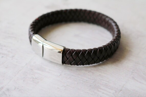 mens bracelet engraved mens leather bracelet