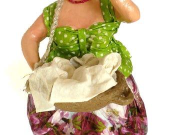 Washerwoman. Art sculpture, Home and office décor, Gift, papier Mache, Art work, Unique handmade, Shelf decor, for holidays & housewarming