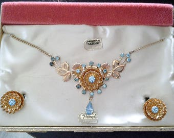 Vintage Anthony Original Demi Parure Necklace and Earring Set in Box