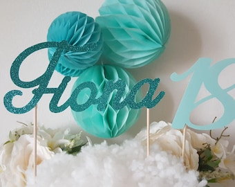 Cake decoration - first name in glittery green + age jade Mint green paper