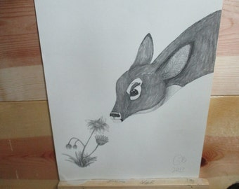 Original Spring Decor Buck Deer Art White-Tailed Doe w/ Daisies Pencil Drawing One of a Kind