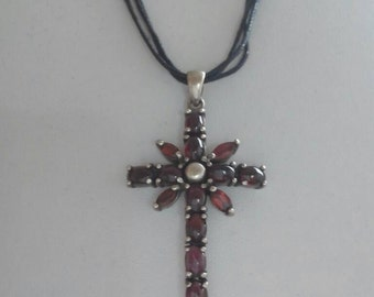 Silver crucifix necklace with Garnet 80 years