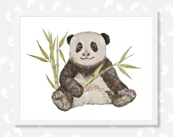 Panda Print Panda Watercolor Painting Panda Art Woodland Nursery Printable Wall Art Baby Animal Print Digital Download Panda Bear Poster