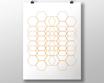 Printable Honeycomb Wall Art, Honey Art, Hexagon Design, Honeycomb Poster, Home Decor, Geometric Printable Poster, Gift, Instant Download