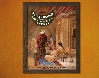 FINE ART REPRODUCTION Belle of Nelson Whiskey in Louisville Print Alcohol Beverage Kitchen Bar  Art   Advertising