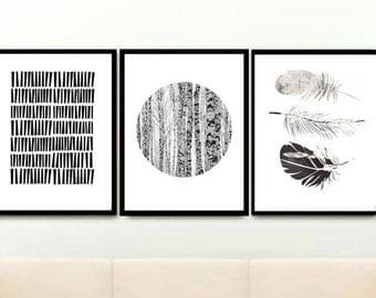 Black And White Art,  Set of 3 Prints, Triptych, Minimalist Poster, Scandinavian Art, Giclee prints, Wall Art, Home Decor, Wall Decor