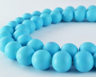 Glass Beads Matte Sky Blue Rubber Over Glass Size 10mm Round For Jewelry Making Item#789222046019