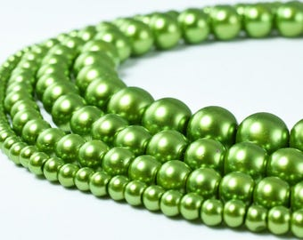Glass Pearl Beads Round Light Olive Green Size 4mm/6mm/8mm/10mm Shine Round Ball Beads for Jewelry Making Item#789222046316