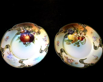 Rosenthal China, Vintage German China Plates with Versailles Green Crossed Swords marking, Vintage CHina Plates, Decorative Plates