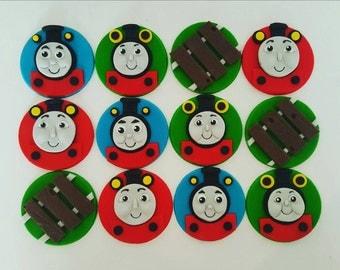 12 x Thomas the Tank Engine Fondant cupcake toppers - thomas, percy, railway