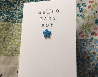 Hello baby boy handmade shabby chic greetings card