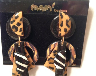 Vintage Designer Mam' Collectors Animal Mix Print Geometric Dangle Clip Earrings