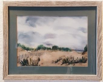 Seaside beach painting, Original watercolor in distressed / white washed wooden frame, Beach, Oceanside artwork