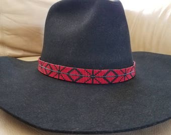 Red black and silver beaded cowboy hat band