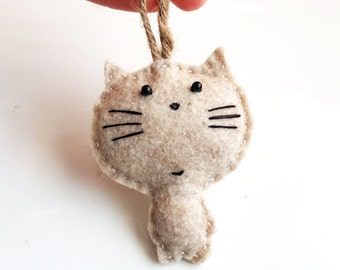 MEOW CAT - Keychain - Felt Plush Ornament - Gift for Him/Her, Birthday, Kid, Kitten, Love Cats - Cute, Funny, Punny, Soft Toy