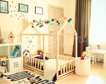 House bed, toddler bed (KING) SINGLE, play house, tent bed, bunk bed, wooden playhouse, Montessori bed, toddler floor bed, teepee bed FENCE