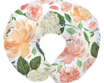 Secret Garden Peach Watercolor Floral | Floral, Watercolor, Coral, Peach, Flowers Baby Girl Nursing Pillow Cover