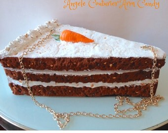 Carrot cake handbag food purses realistic icing fashion