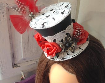 Black and red top hat mini top hat party roses feathers