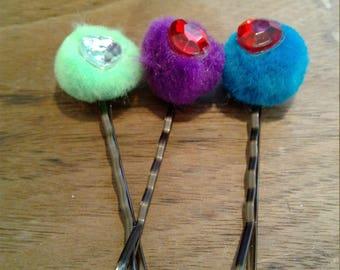 Handmade Pom Pom Bobby Pins Set Of 3, hair accesorries, pom pom, bobby pins