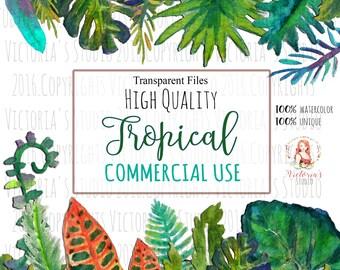 Watercolor tropical leaves set watercolor flowers watercolor wreathes bundle
