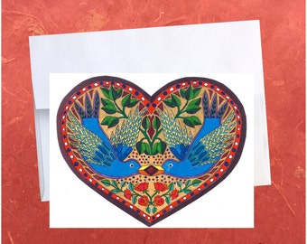 Be My Valentine, Valentine's Day Card, Love Birds, Burds, Handmade Card, Love, Hand Drawn, Valentine's Day, Blank Card