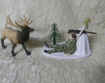 Wedding Reception Party Camo Big Bull Elk Hunting Camo Hunter Cake Topper