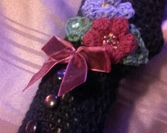 fingerless gloves, crochet mittens, Steampunk gloves, Victorian, halloween, vampire,Lolita, Gothic mittens, hippy, gypsy, ladies gift