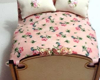 "1/12 scale ""Posies & Pink Lace Comforter"" quilt and 2 gorgeous pillows embellished with tiny embroideries"