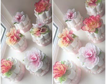 Peony Pink Flower Baby Shower Diaper Cake Centerpieces.  Diapers for the Mom-to-Be!