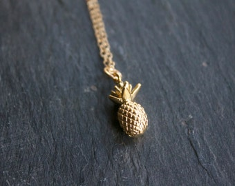 Gold Pineapple Necklace on 14k Gold Filled Chain
