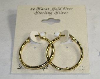 E-2 Vintage Earrings 24 k gold over silver