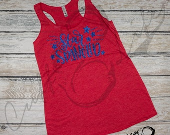 Star Spangled Racerback Tank / Fourth of July Shirt / 4th of July Shirt / Memorial Day / Independence Day / Veterans Day / USA / America